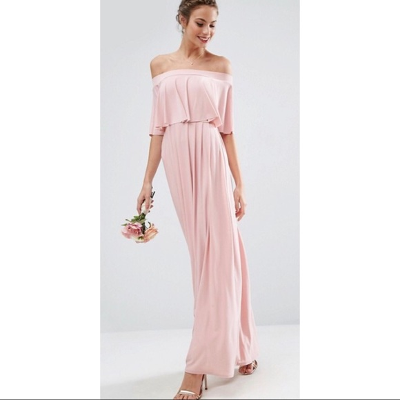 fc6ee1b1a51 ASOS WEDDING Off Shoulder Frill Maxi Dress